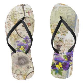 Thongs clocks vintage, flowers, small birds,