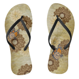 Thongs with brown flowers and butterflies