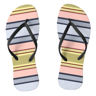 Thongs with strips of colors, roses, yellows