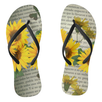 Thongs with sunflowers and letters, green yellow