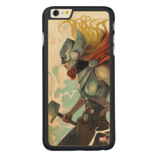 Thor Profile With Mjolnir Carved Maple iPhone 6 Plus Case