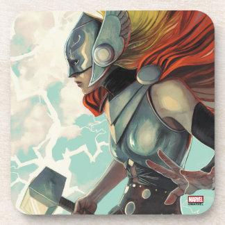Thor Profile With Mjolnir Coaster