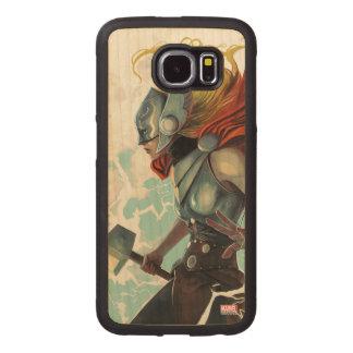 Thor Profile With Mjolnir Wood Phone Case