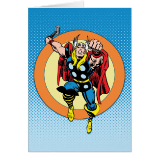 Thor Punch Attack Retro Graphic Card