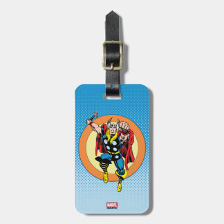 Thor Punch Attack Retro Graphic Luggage Tag