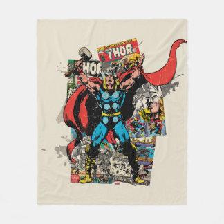 Thor Retro Comic Collage Fleece Blanket
