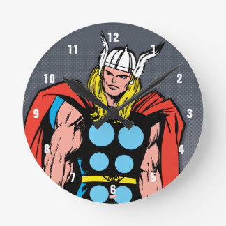 Thor Standing Tall Retro Comic Art Round Clock