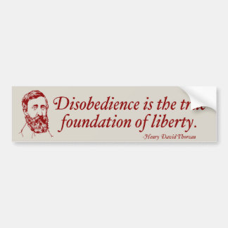 Thoreau Civil Disobedience Bumper Sticker