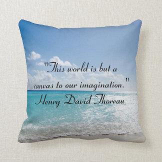 Thoreau Quotes On Beach Throw Pillow