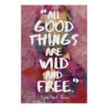 Thoreau 'Wild and free' quote poster