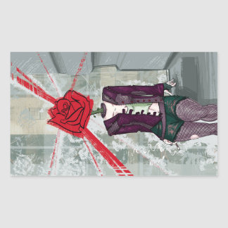 Thorns and Rose Rectangular Sticker