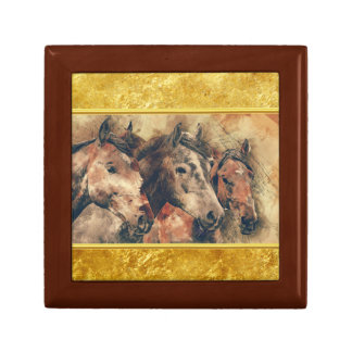 Thoroughbred horses running in a field gift box