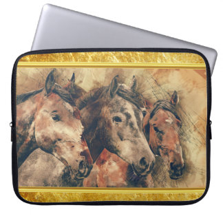 Thoroughbred horses running in a field laptop sleeve