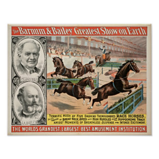 Thoroughbred Race Horses Circus Poster