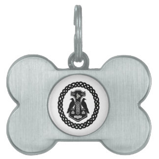 Thor's Hammer In Celtic Knot Circle Dog Tag