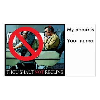 Thou Shalt not recline Business Card Template