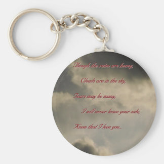 Though the rains are heavy, I love you Basic Round Button Key Ring