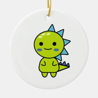Thoughtful Green Dinosaur Kawaii Cartoon Ceramic Ornament