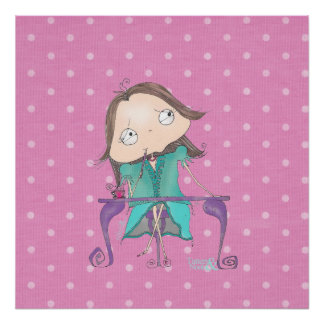 """""""Thoughtful Me"""" -Pink and teal polka-dot Poster. Poster"""