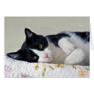 Thoughtful Tuxedo Cat Card