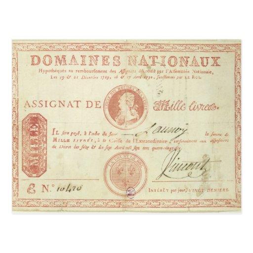 Thousand livre banknote with Louis XVI's Postcard