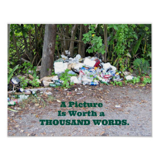 """Thousand Word"" picture of the results of litter. Poster"