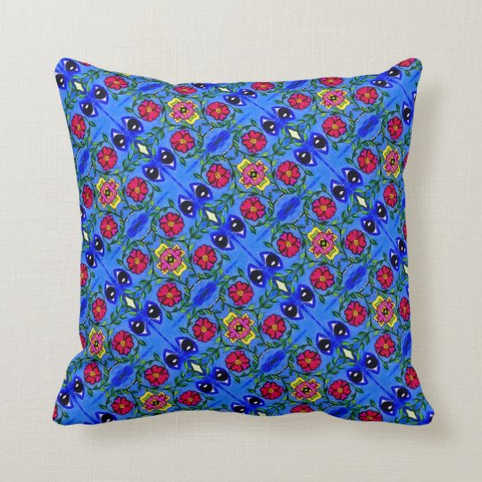 THP - 003 - Blue & Pink Flowers - Throw Pillow