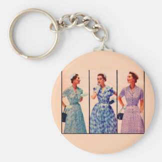 three 1953 dresses - vintage clothing basic round button key ring