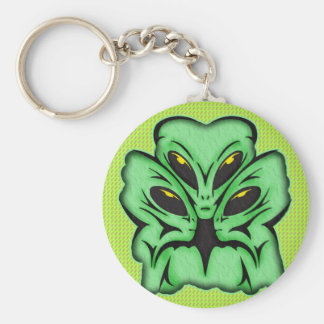Three Alien Invaders Basic Round Button Key Ring