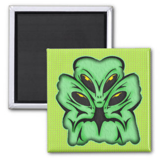 Three Alien Invaders Square Magnet