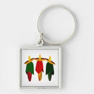 Three Amigo Hot Peppers Premium Keychain