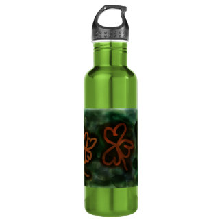 Three and Four-Leaf Clover Water Bottle (24 oz) 710 Ml Water Bottle