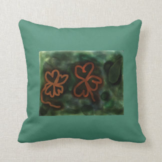 Three and Four-leaf Clovers Polyester Throw Pillow