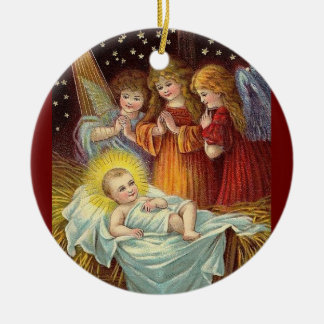 THREE ANGELS ADORING BABY JESUS CHRISTMAS ORNAMENTS