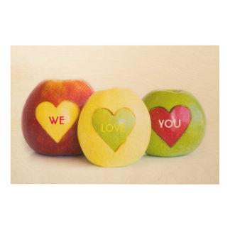 Three apples wood wall decor