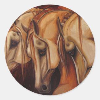 Three Arabians Classic Round Sticker