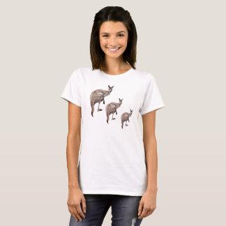 Three Aussie Kangaroos, Ladies White T-shirt