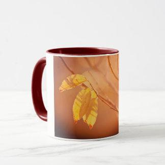Three autumn leaves mug