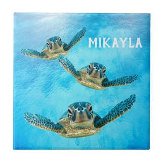 Three Baby Sea Turtles Swimming Ceramic Tile