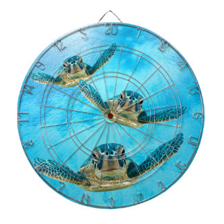 Three Baby Sea Turtles Swimming Dartboard