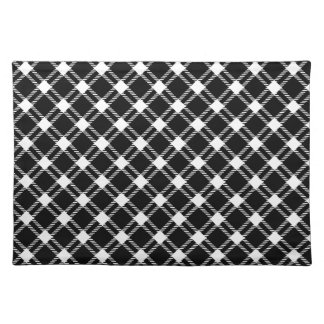 Three Bands Large Diamond - White on Black Placemat
