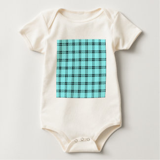 Three Bands Small Square - Black on Electric Blue Baby Bodysuit