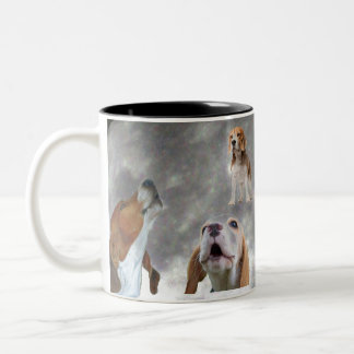 Three Beagles Howling at the Moon Mug
