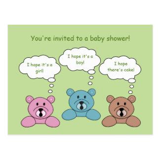 Three Bears Baby Shower Invitation Postcard