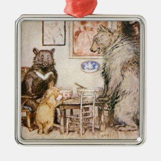 Three Bears Square Ornament Vintage Illustration