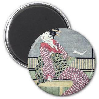 Three beauties enjoying the cool by Kikukawa,Eizan Refrigerator Magnets