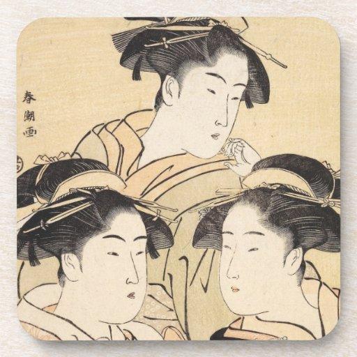 Three Beauties katsukawa shunsho ukiyo-e vintage Beverage Coasters