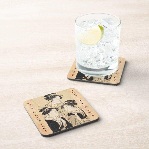 Three Beauties katsukawa shunsho ukiyo-e vintage Beverage Coaster
