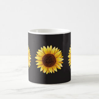 Three beautiful yellow sunflowers. coffee mugs