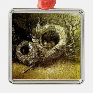 Three Birds' Nests Van Gogh Fine Art Silver-Colored Square Decoration